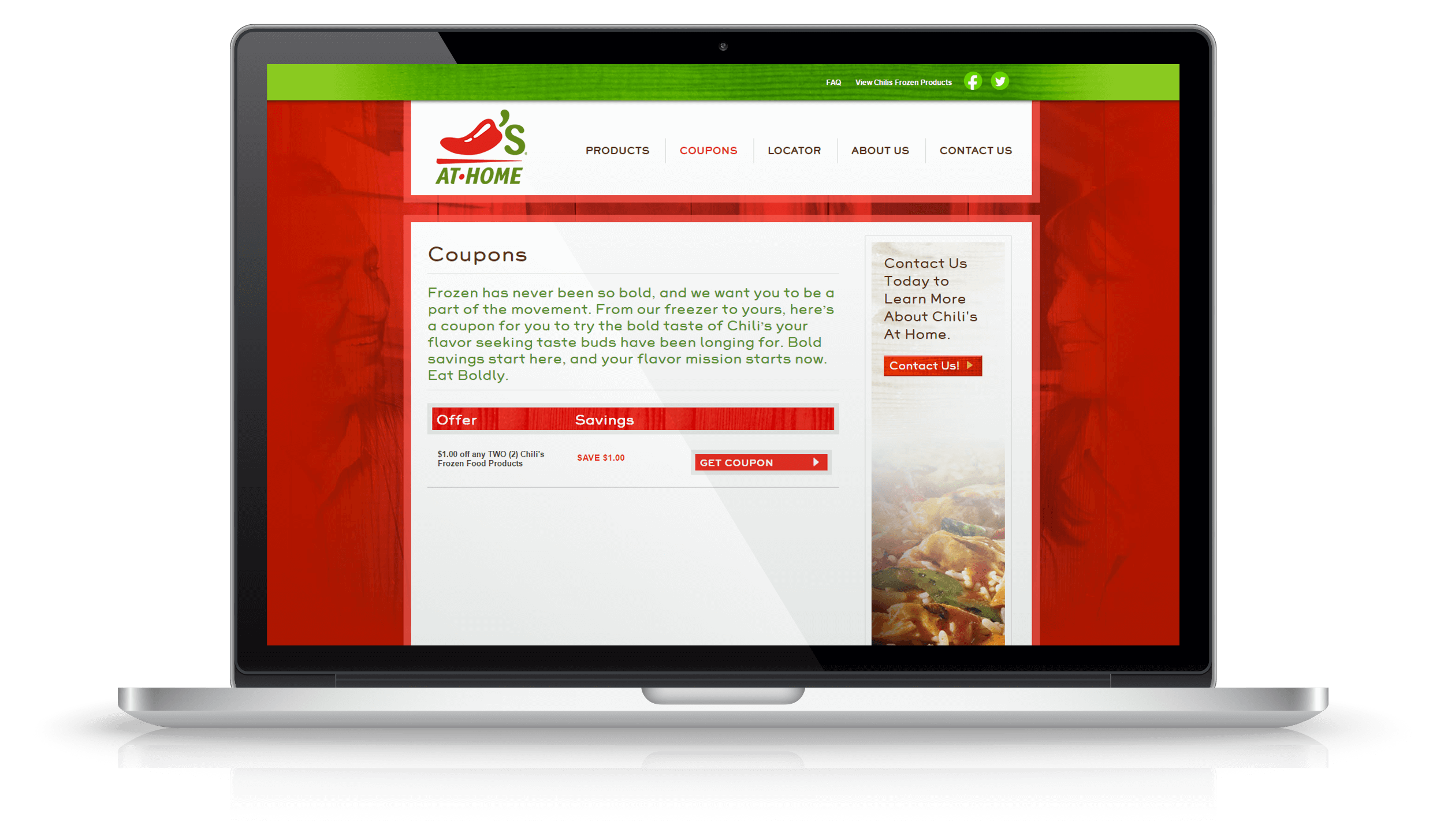 Pixelnation Project: Chilis at Home Website - Coupons Page