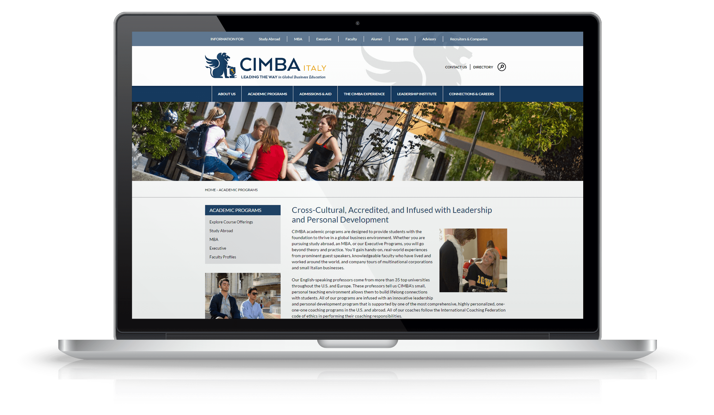 Pixelnation Project: CIMBA Italy Website - Academic Page