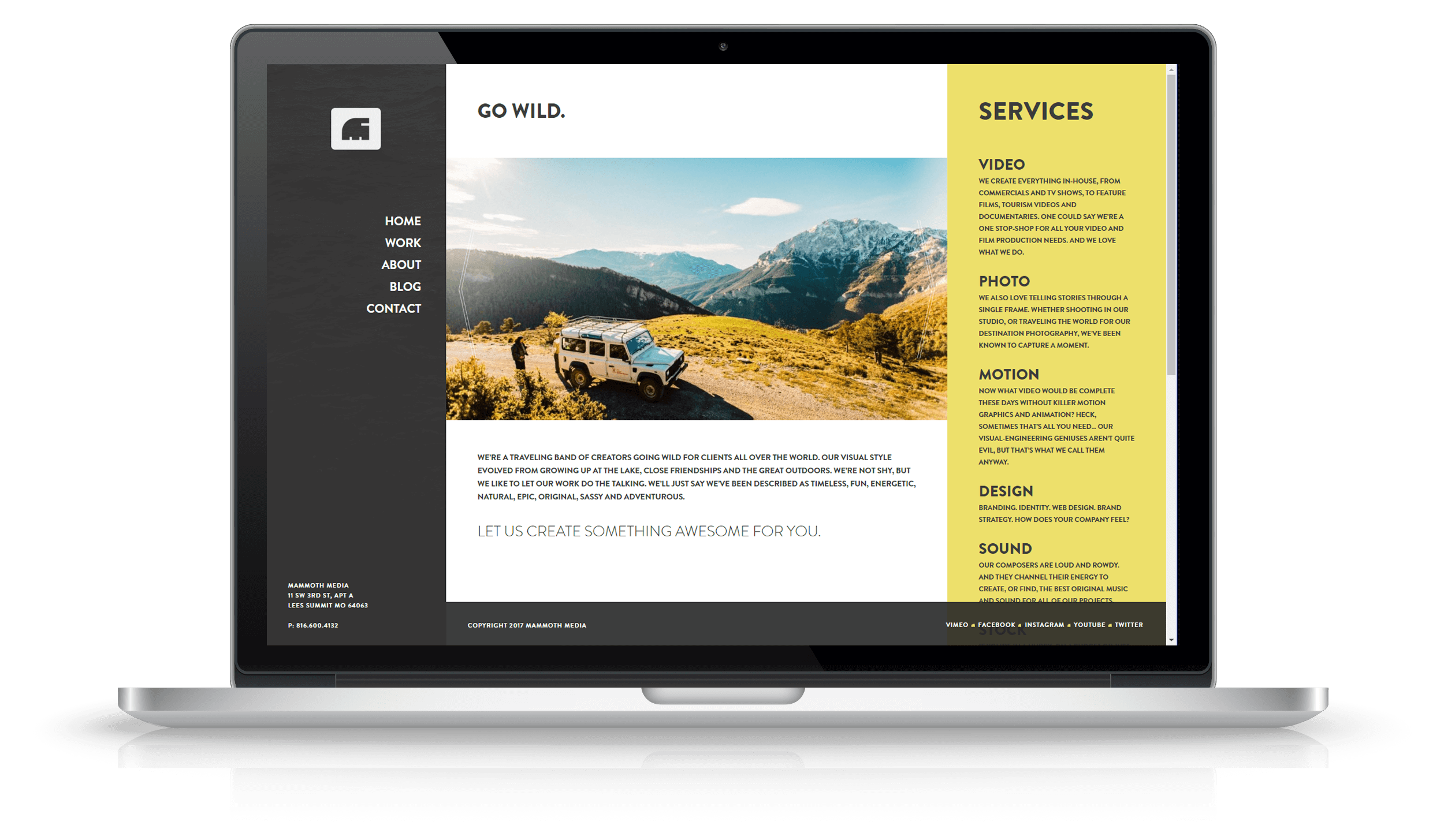 Pixelnation Project: Mammoth Media Website - About Page