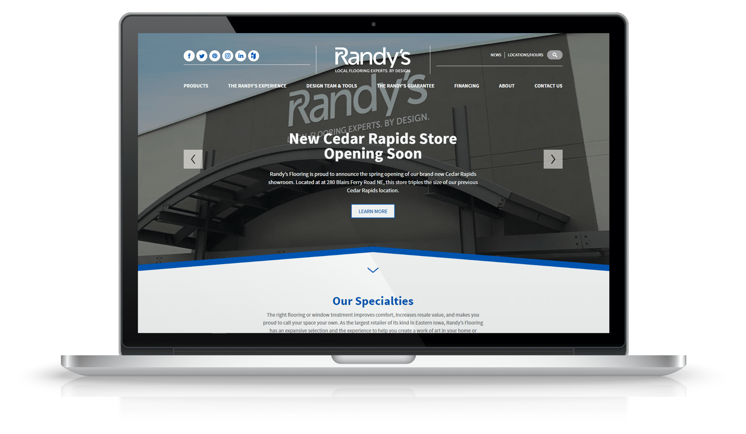 Pixelnation Project: Randys Flooring Website - Home Page