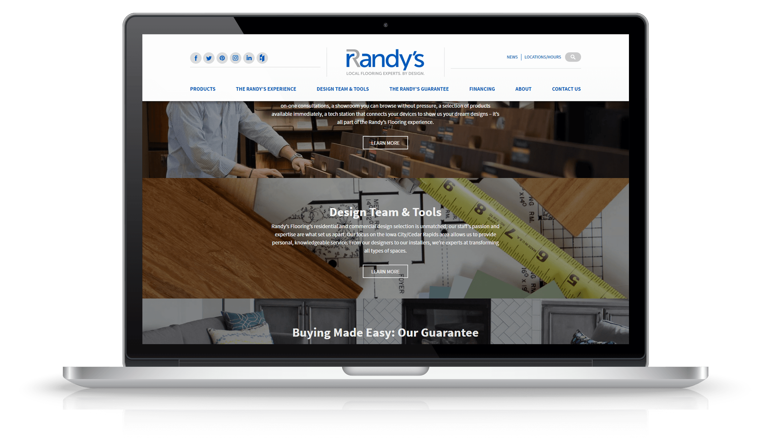 Pixelnation Project: Randys Flooring Website - Scrolled Page