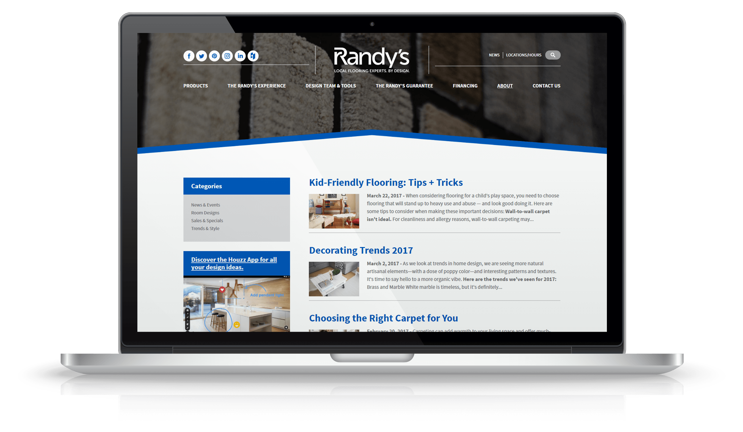 Pixelnation Project: Randys Flooring Website - News Page